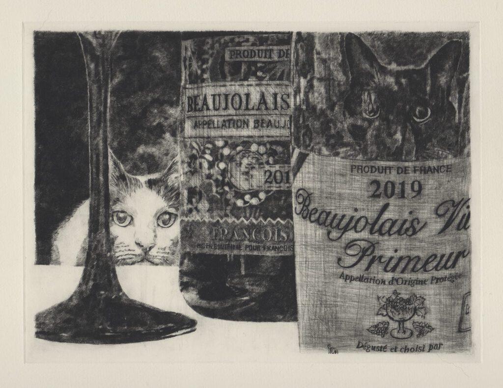 ワインと猫達 (drypoint etching by Yaemi Shigyo)