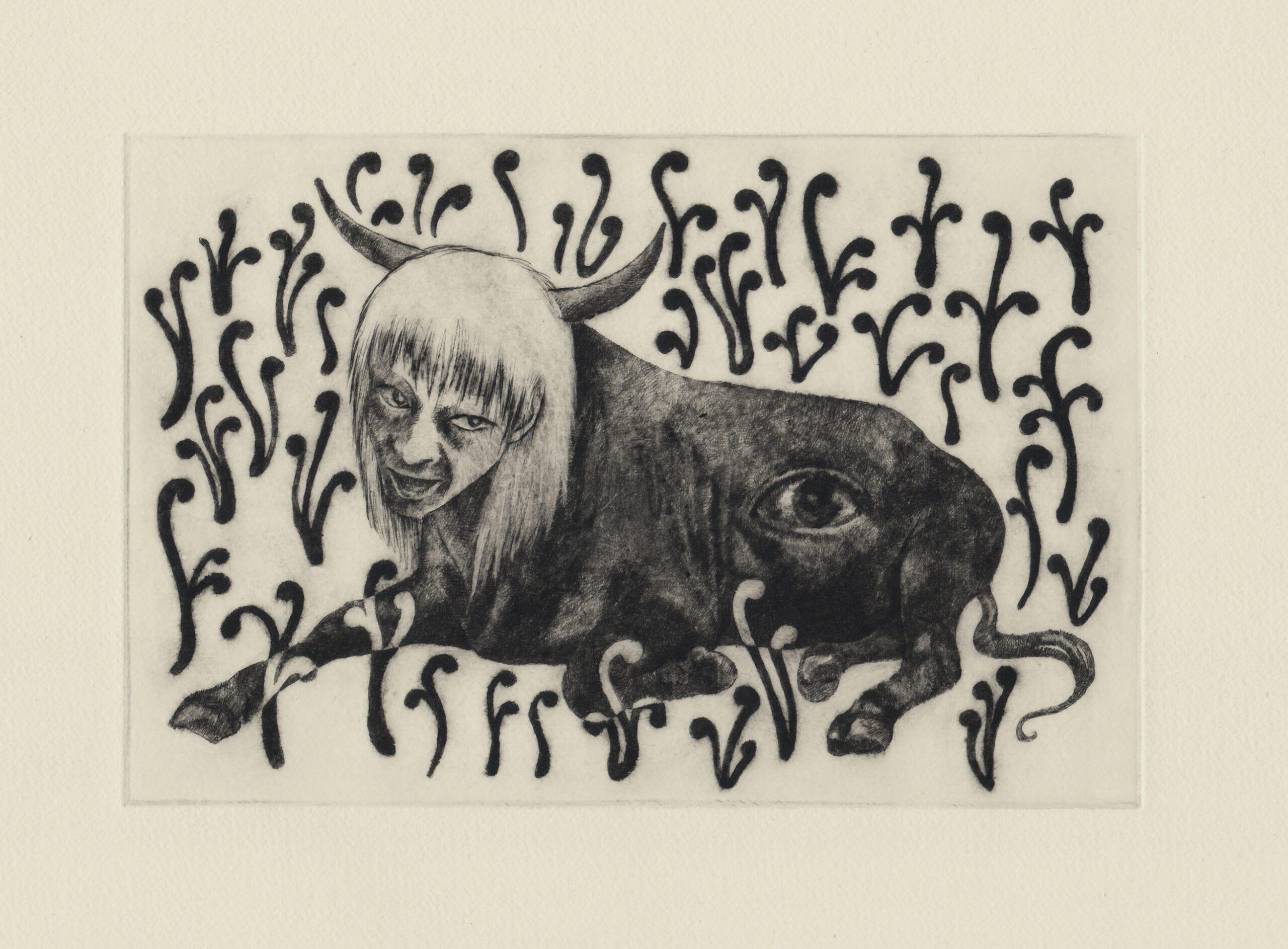 件 (drypoint etching by Yaemi Shigyo)