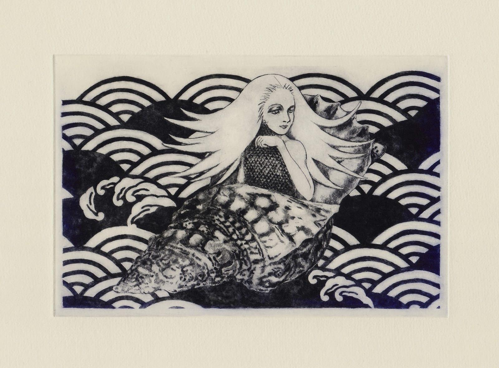 海出人 (drypoint etching by Yaemi Shigyo)