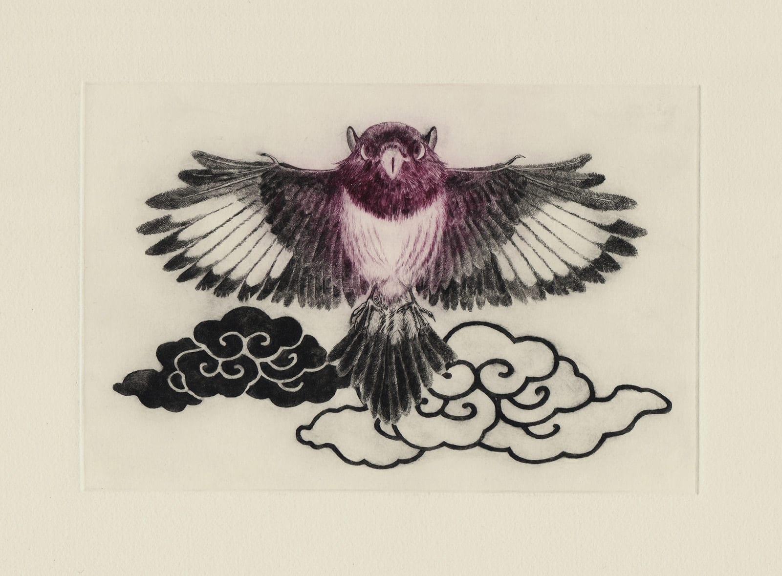 肥前国の異鳥 (drypoint etching by Yaemi Shigyo)