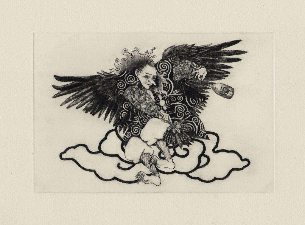 出羽国の予言する天狗 (drypoint etching by Yaemi Shigyo)