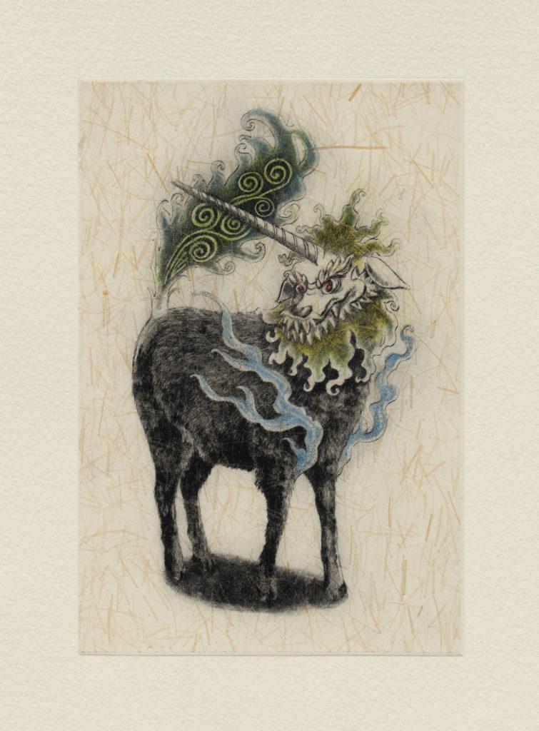 獬豸(かいち) (drypoint etching by Yaemi Shigyo)