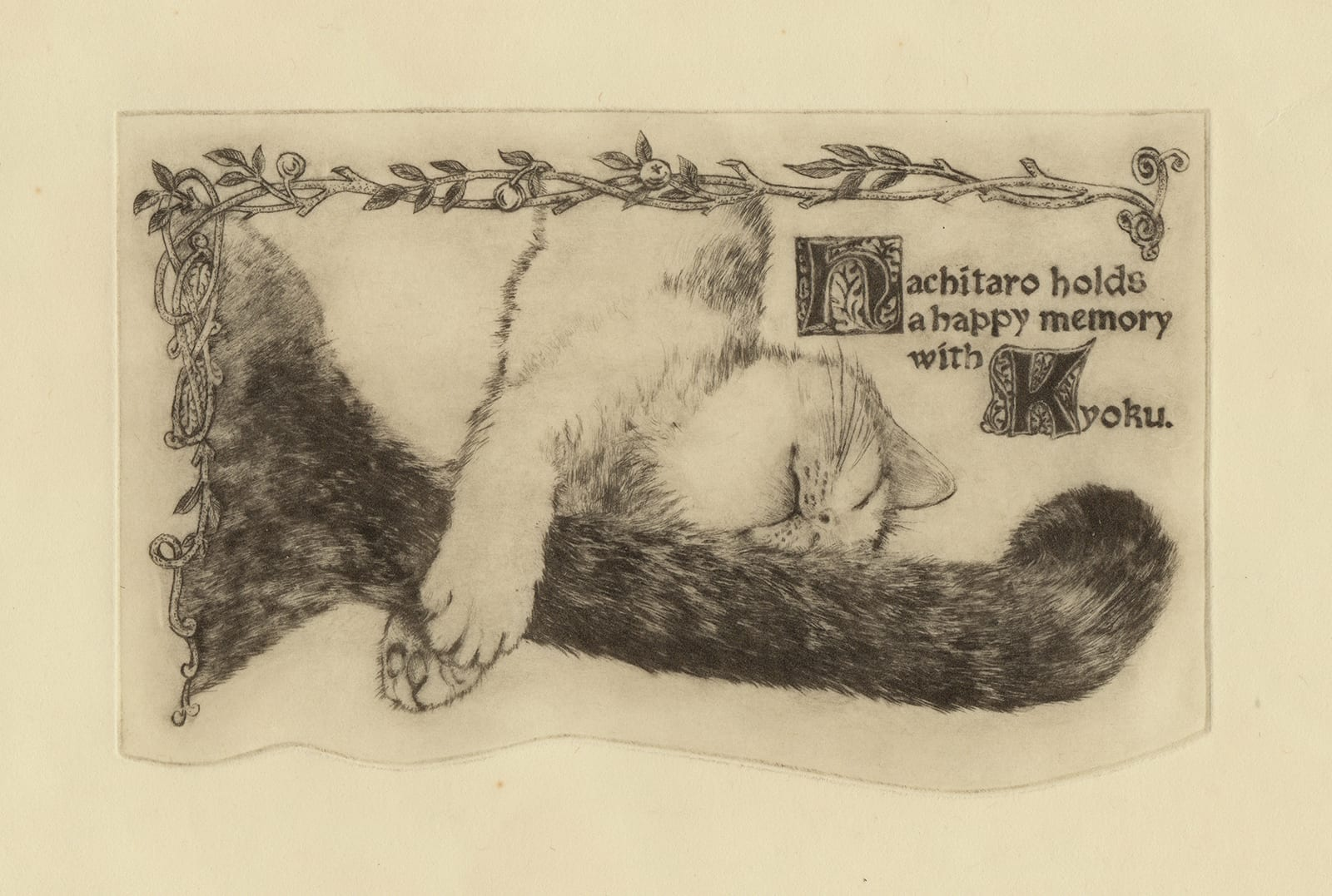 Hachitaro's memory (drypoint etching by Yaemi Shigyo)