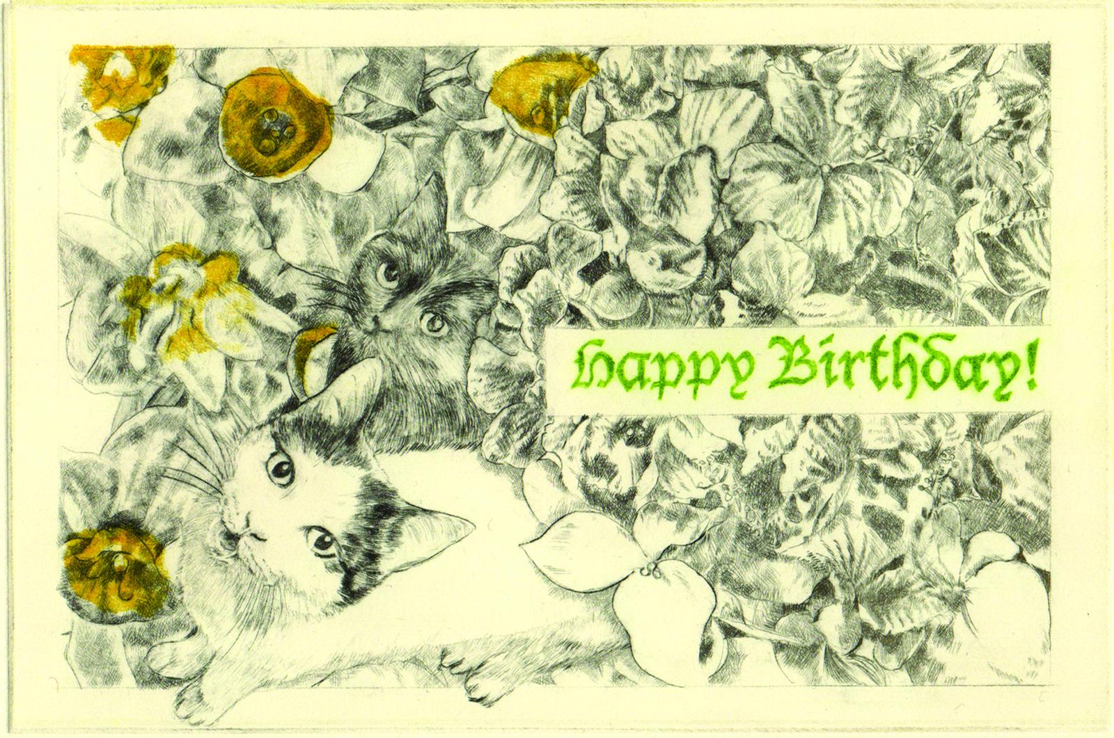 Happy Birthday! (drypoint etching by Yaemi Shigyo)