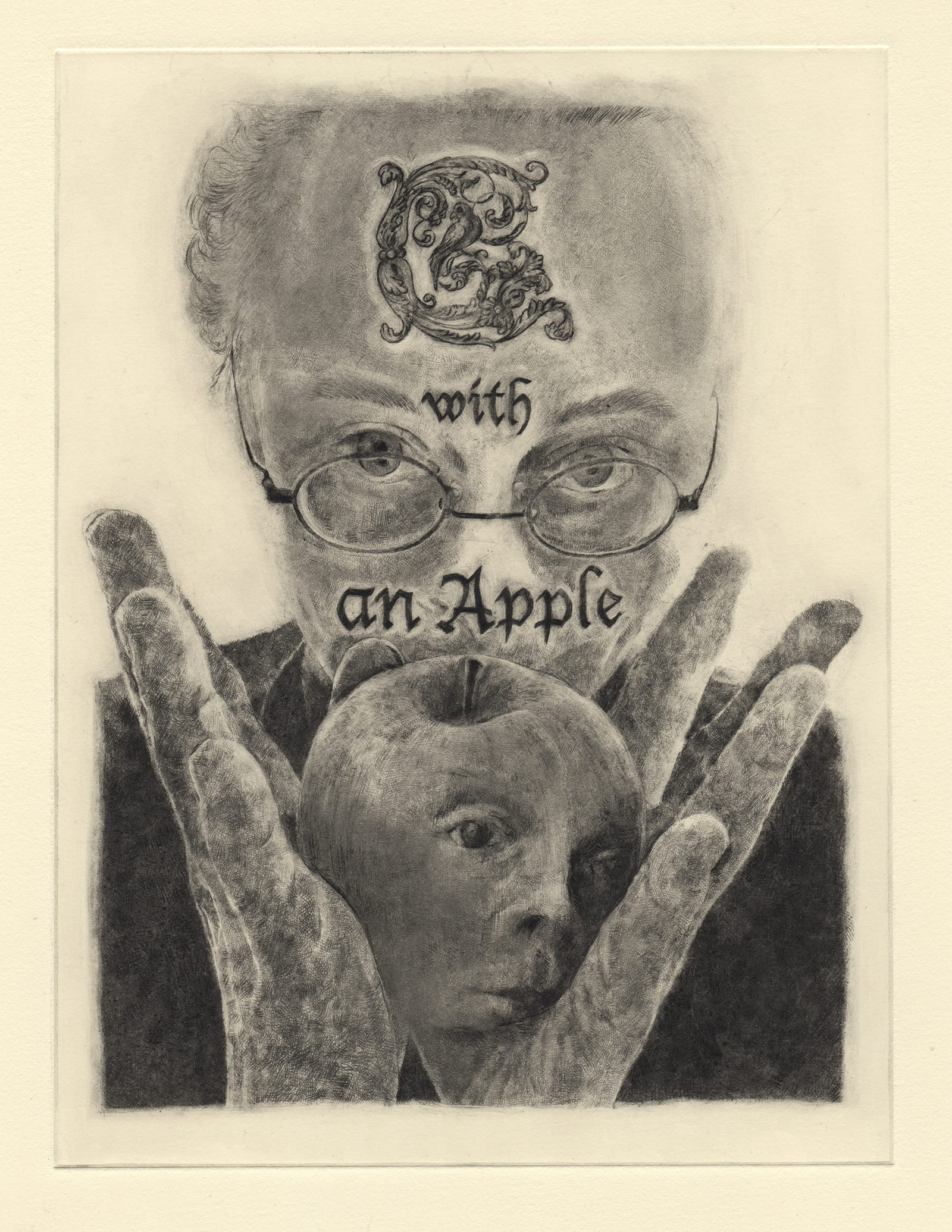 C with an apple (drypoint etching by Yaemi Shigyo)