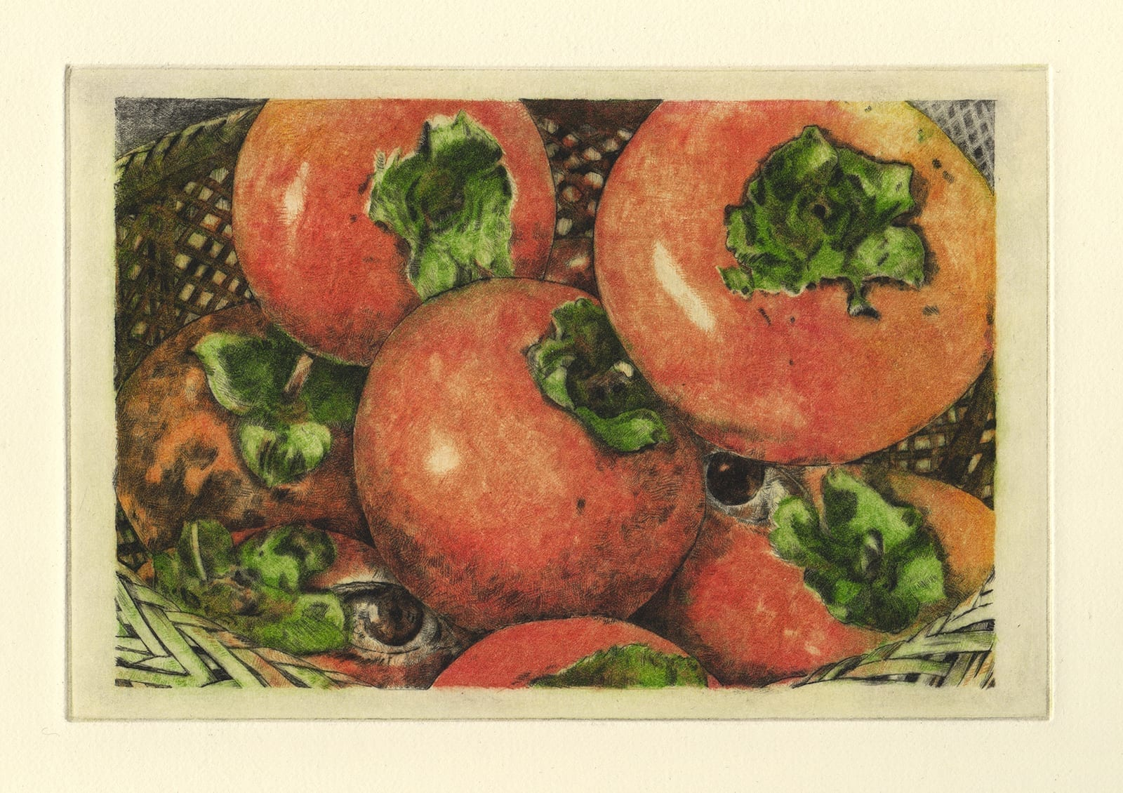 Persimmon (drypoint etching by Yaemi Shigyo)