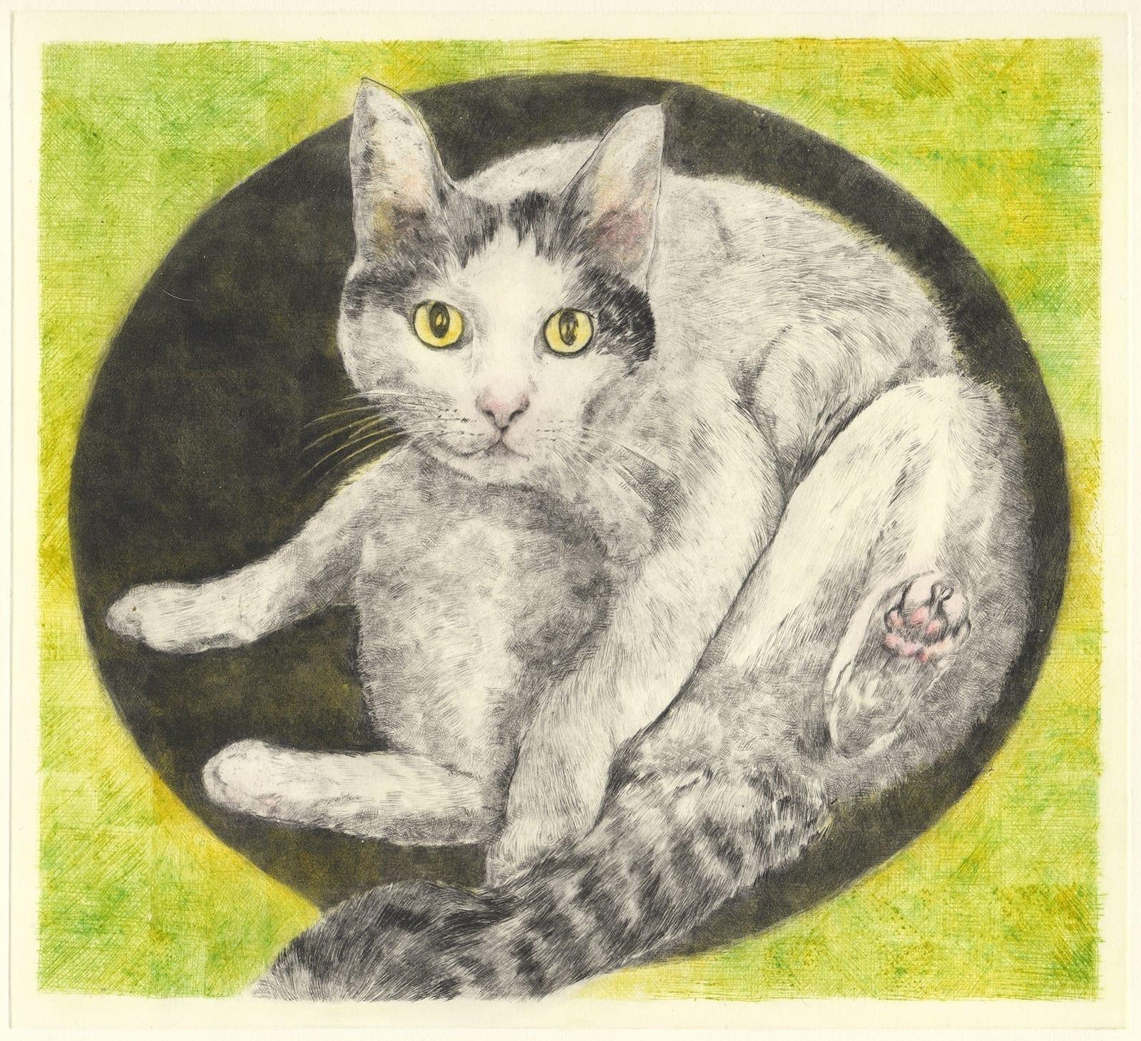 Kawaii Hachi (drypoint etching by Yaemi Shigyo)