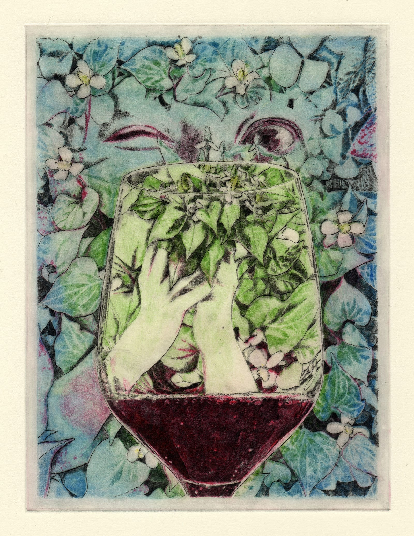 Dokudami (drypoint etching by Yaemi Shigyo)