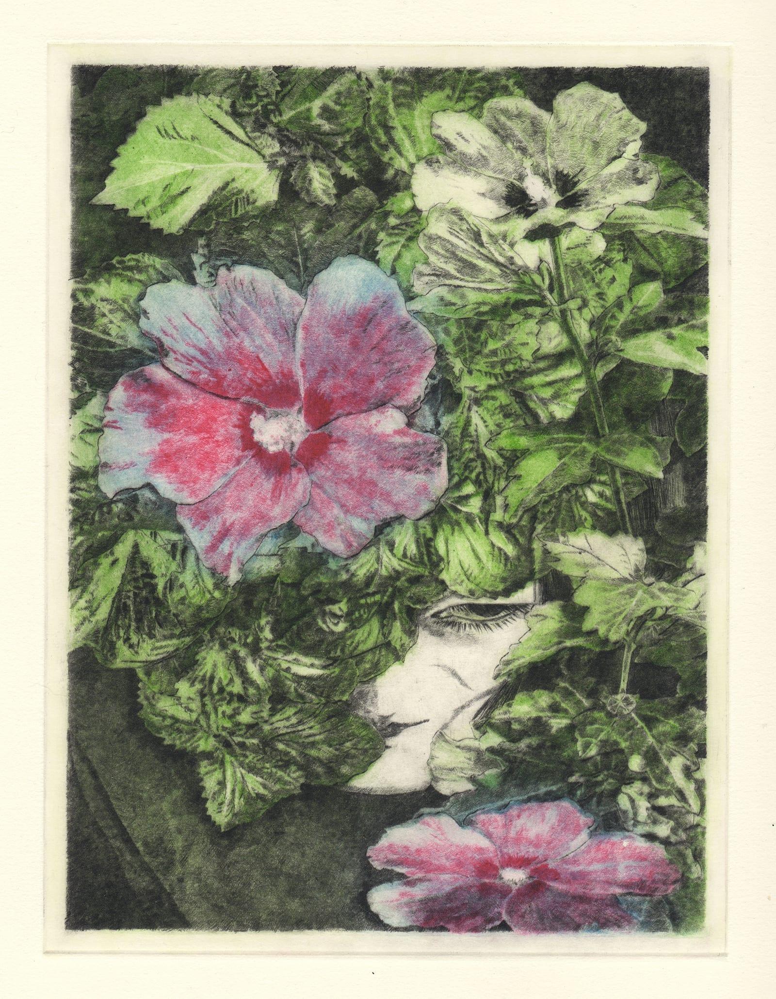 Mukuge (drypoint etching by Yaemi Shigyo)