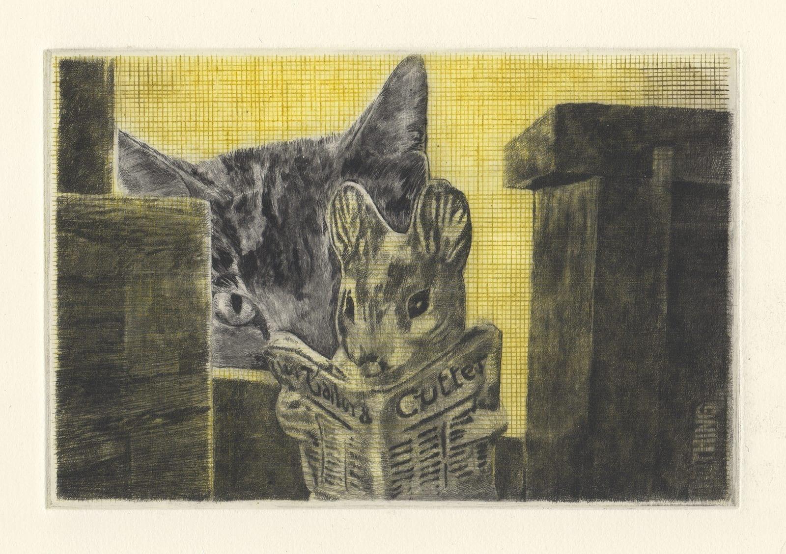 Kyoku (drypoint etching by Yaemi Shigyo)