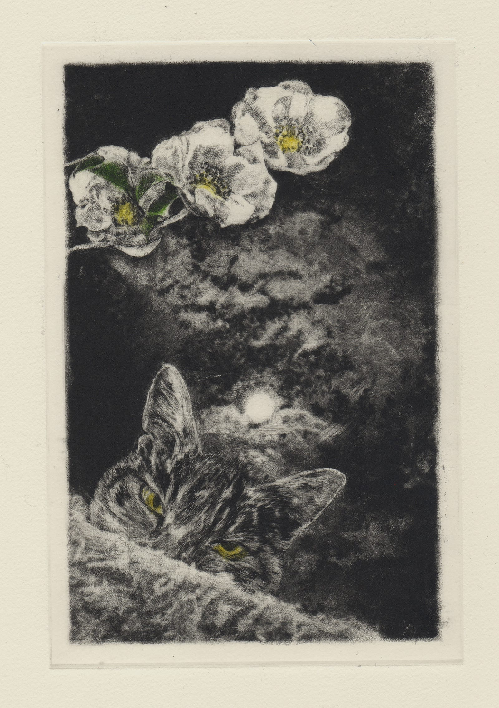 Kyoku and thirteenth night moon (drypoint etching by Yaemi Shigyo)