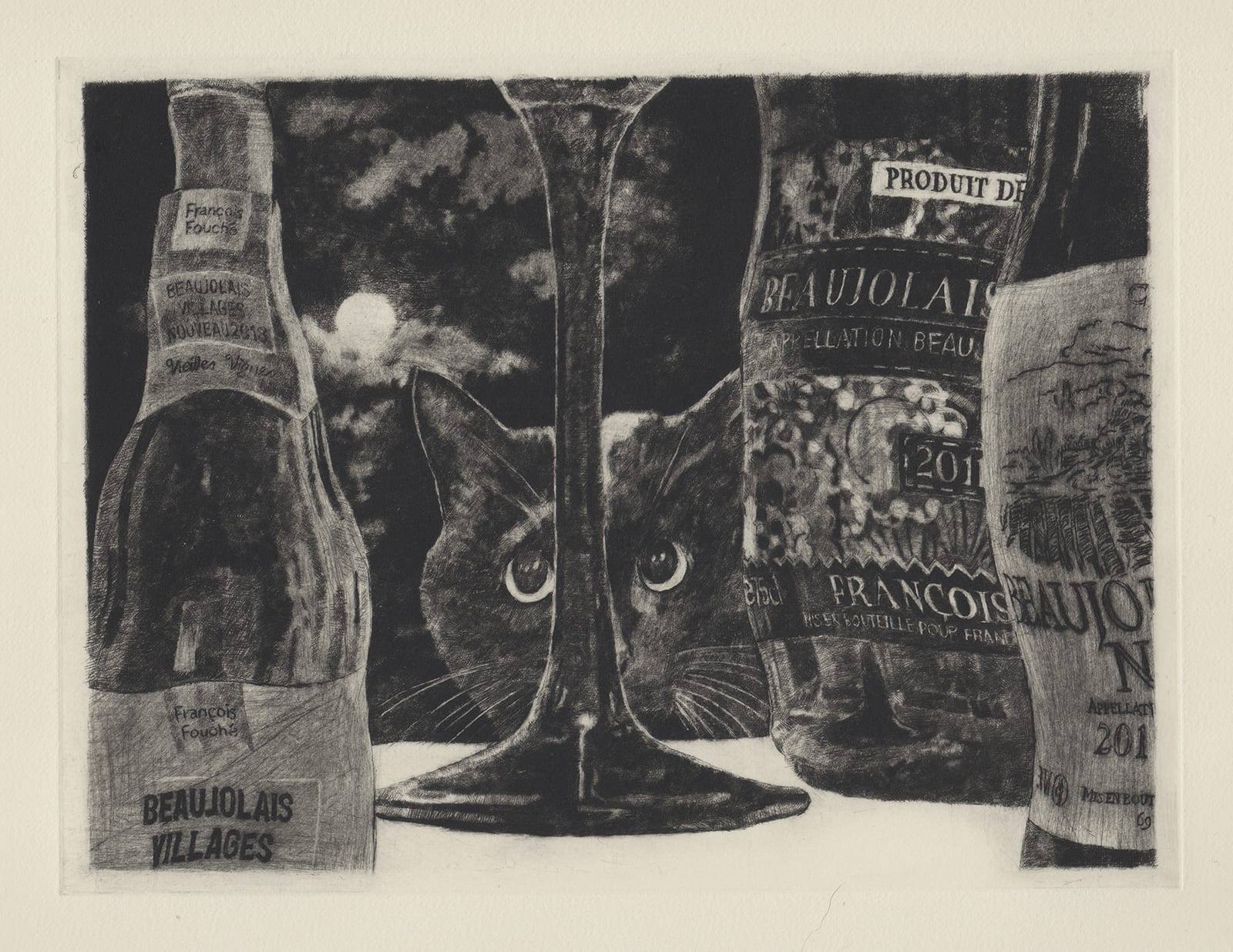Wine and cat (drypoint etching by Yaemi Shigyo)
