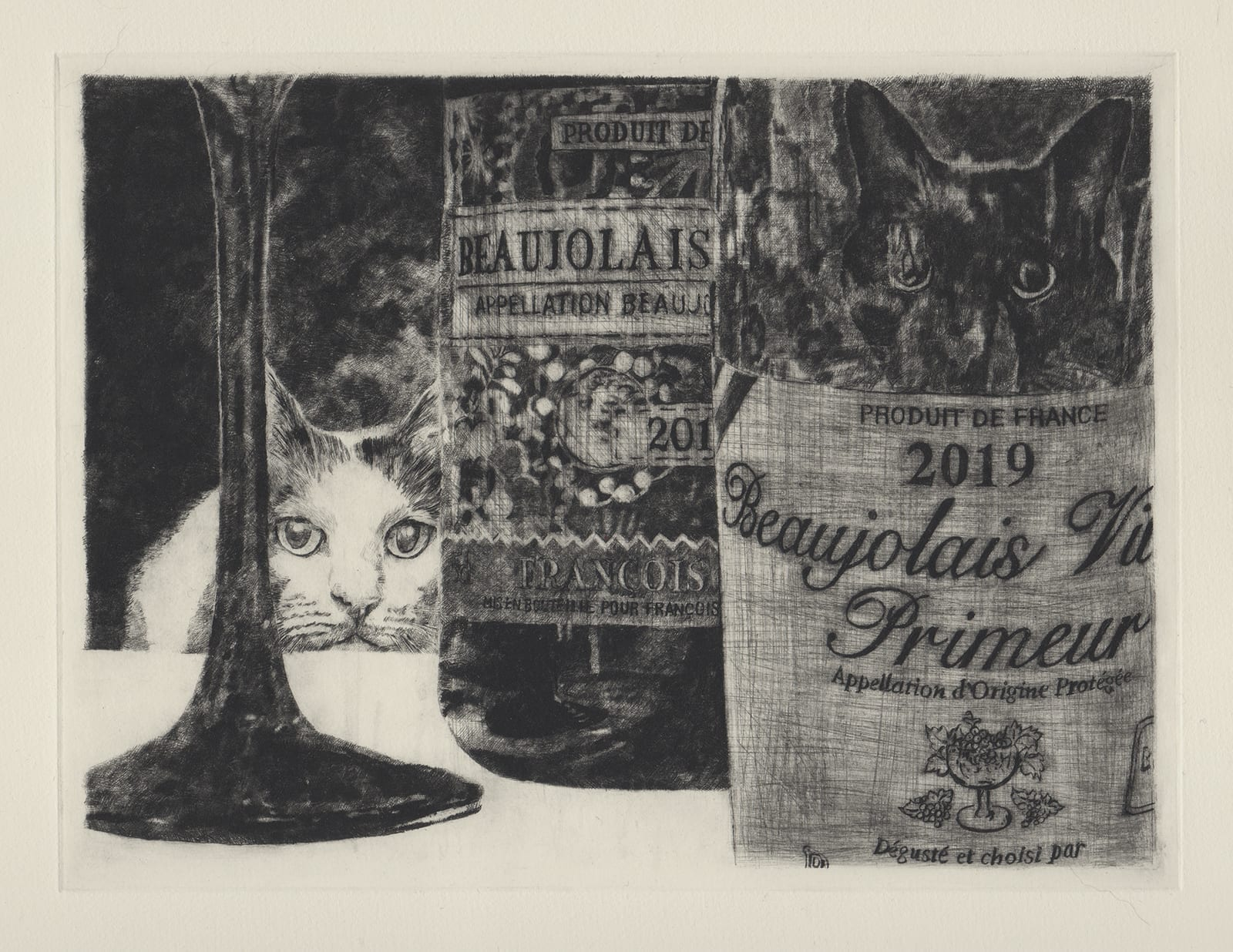 Wine and cats (drypoint etching by Yaemi Shigyo)