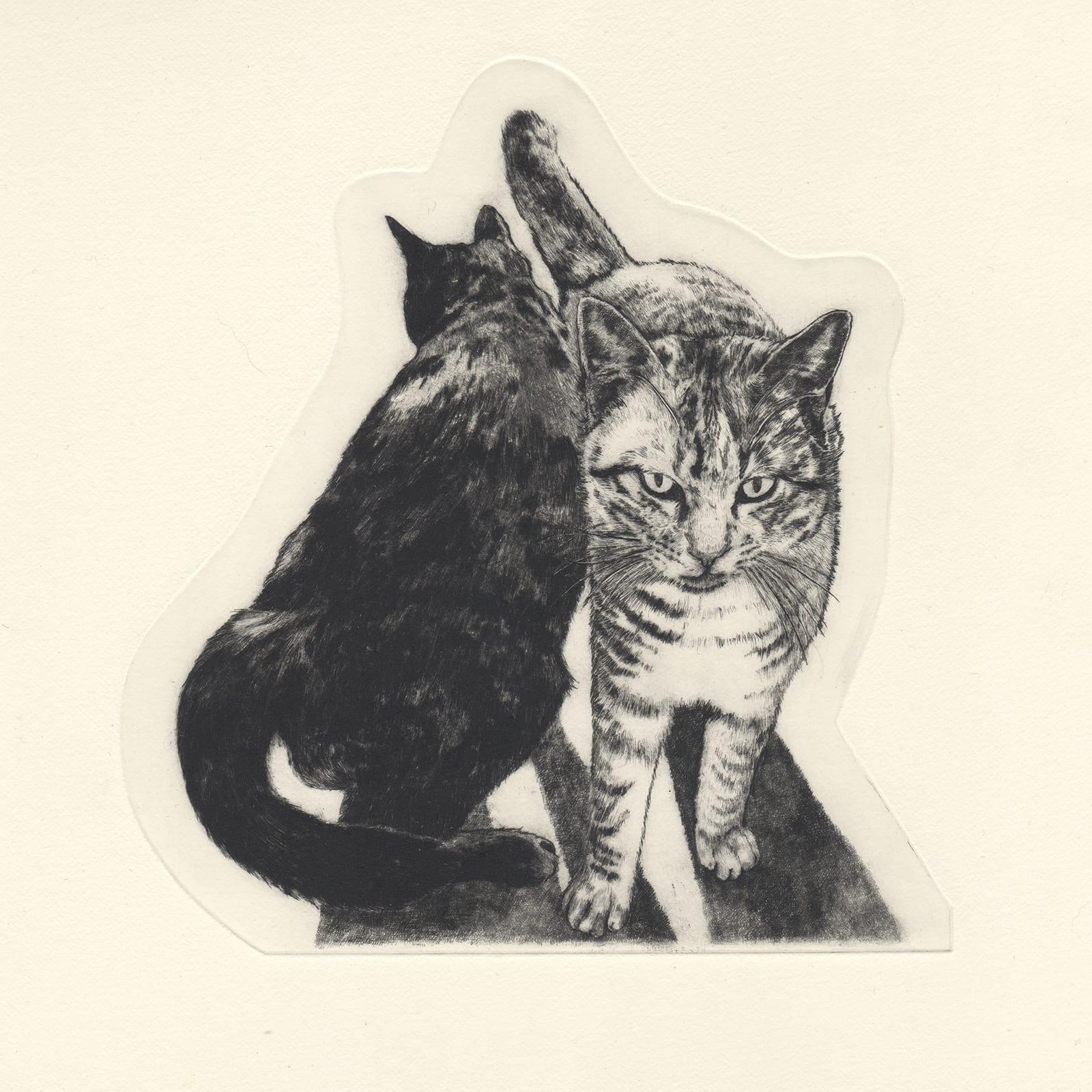 Friends (drypoint etching by Yaemi Shigyo)