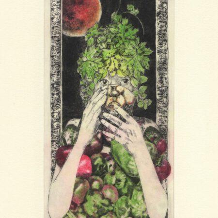 She drinks tea postcard (front)