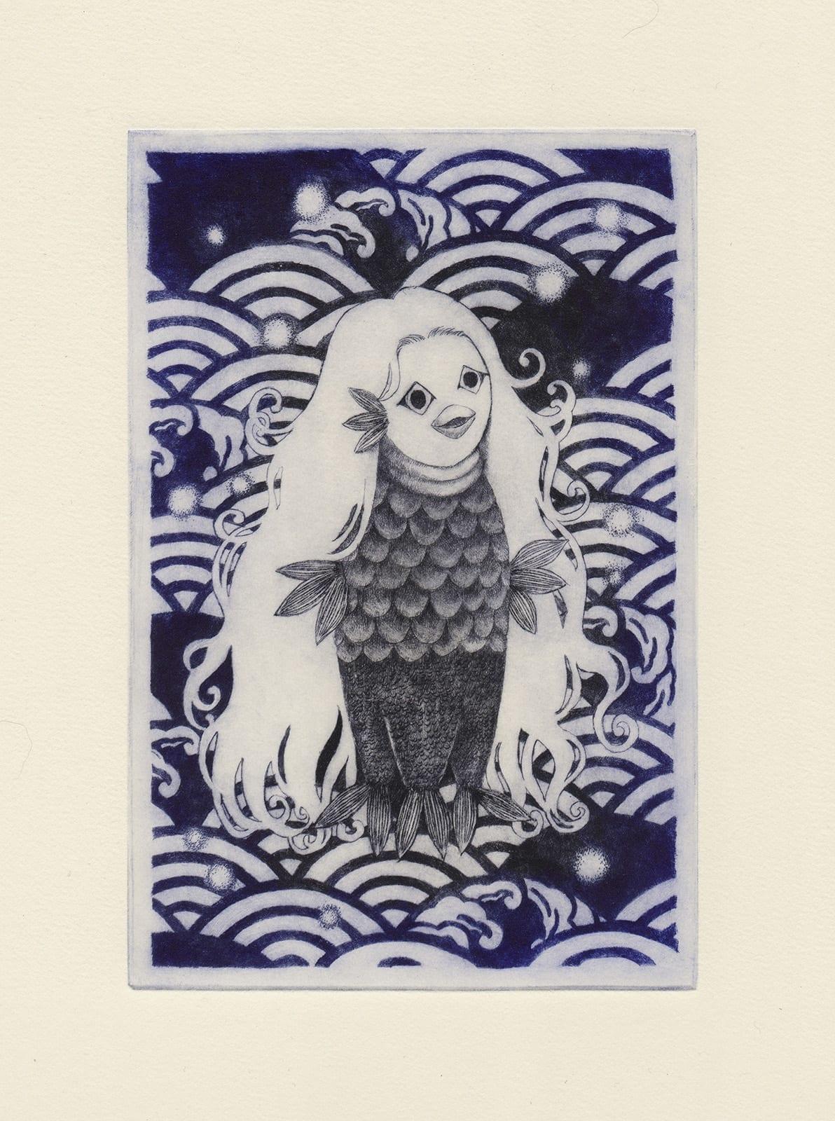 Amabie (drypoint etching by Yaemi Shigyo)