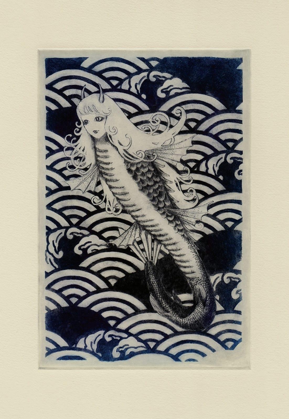 Jinja-hime (drypoint etching by Yaemi Shigyo)
