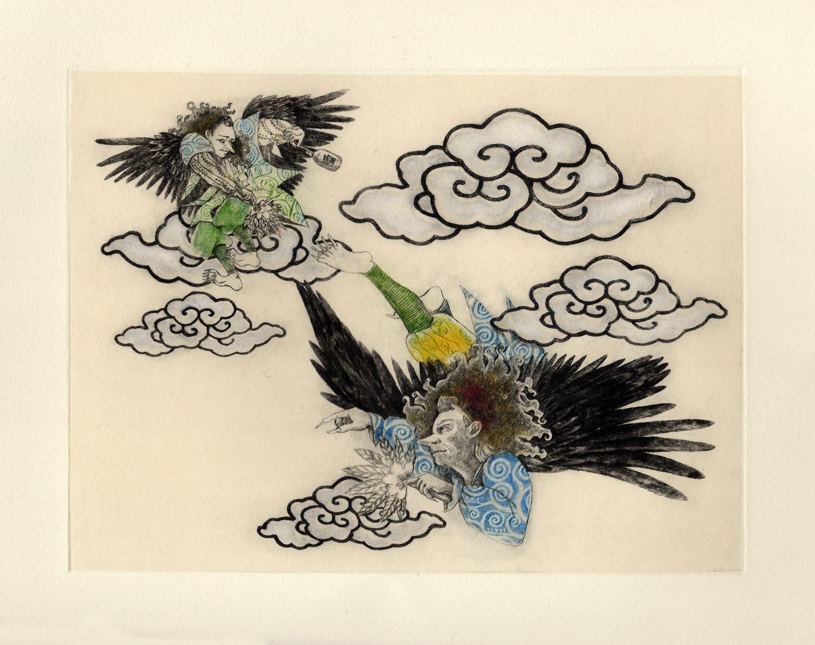 Tengu (drypoint etching by Yaemi Shigyo)