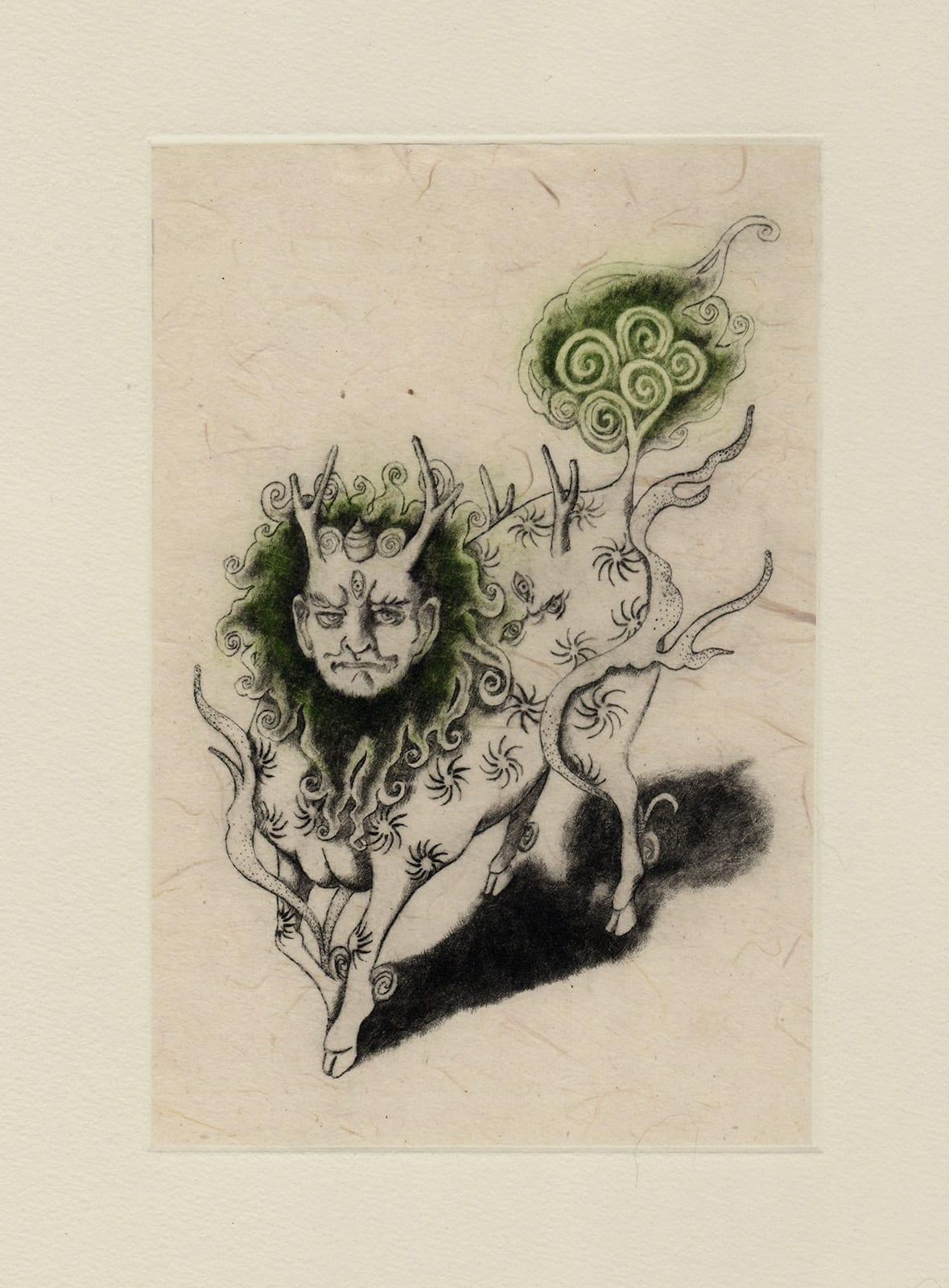 Hakutaku (drypoint etching by Yaemi Shigyo)