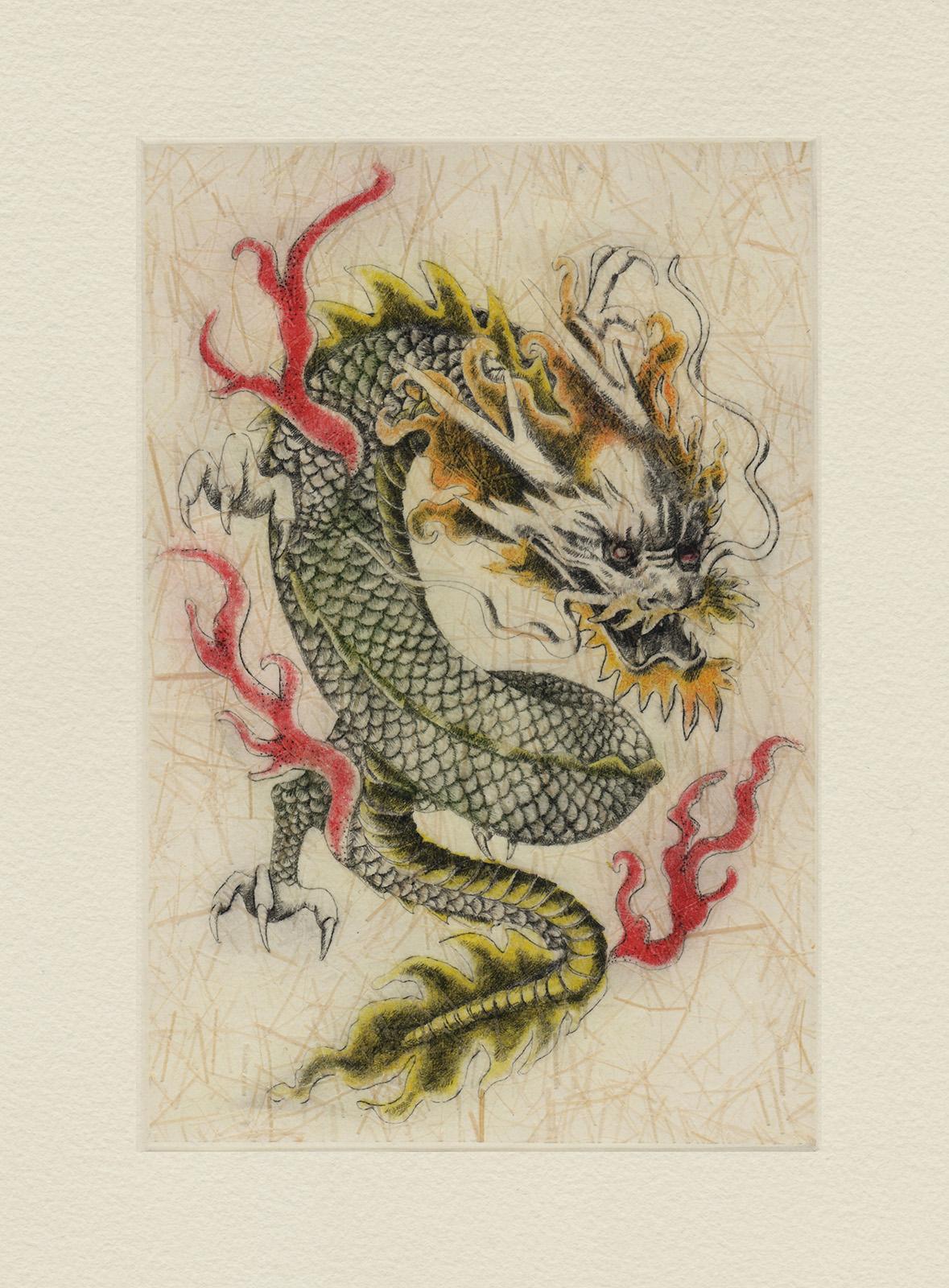 Dragon (drypoint etching by Yaemi Shigyo)