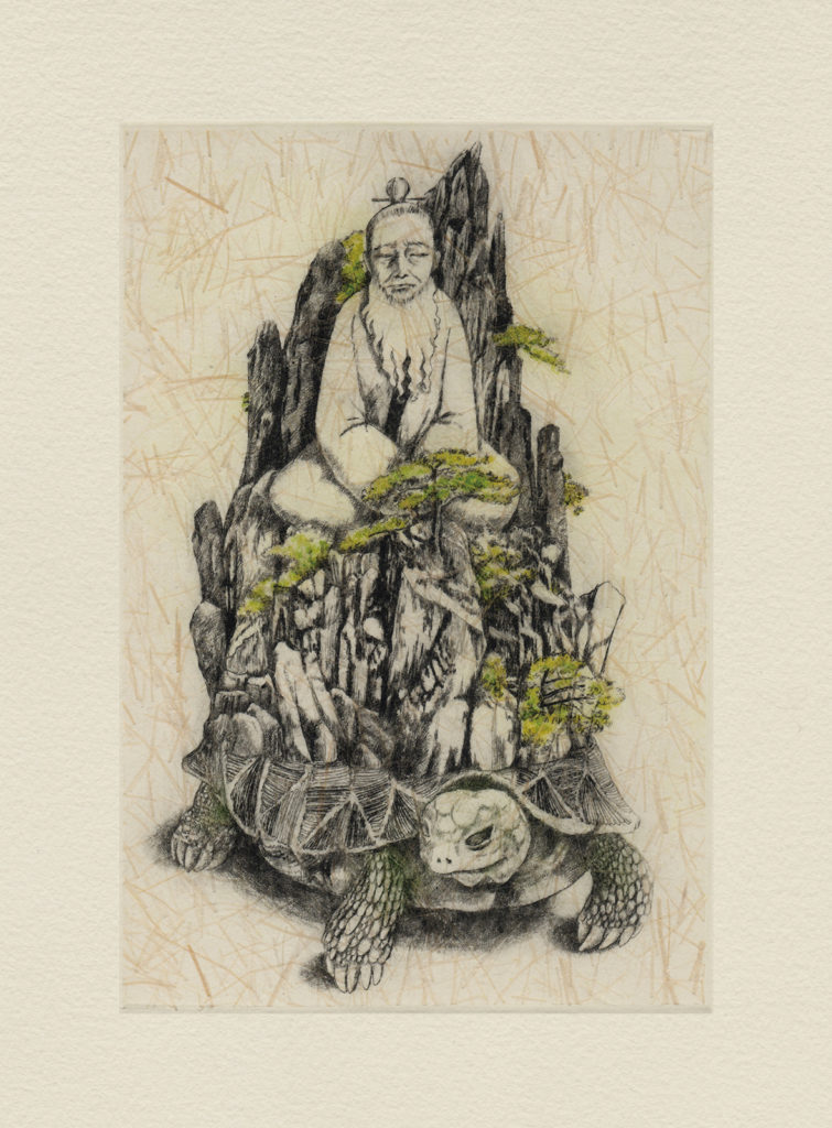 Spirit Turtle (drypoint etching by Yaemi Shigyo)