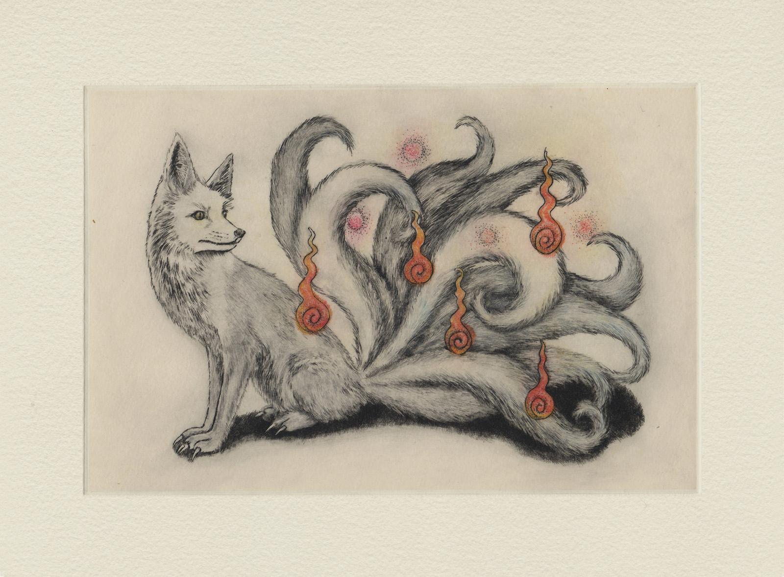 Nine-Tailed Fox (drypoint etching by Yaemi Shigyo)